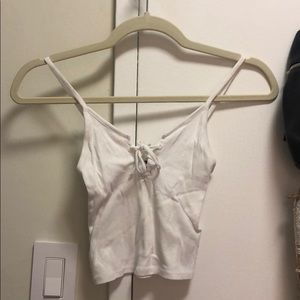 Topshop White Crop with Tie-Up Front